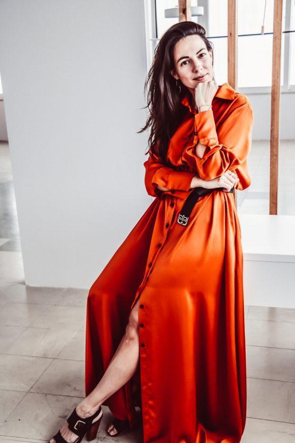 φορεμα πορτοκαλι argilos